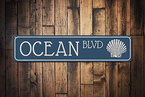 qidushop Ocean BLVD Schild Custom Beach Street Sign Metall Muschel Boulevard Schild Ocean Lover Shell Collector Decor Retro Metall Wand Decor Art Shop Man Cave Bar Garage Aluminium Schild