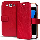 Conie Retro Klapphülle Etui Klapptasche Hülle - für Samsung Galaxy A5 (Nicht Passend für A5 2016) in Rot
