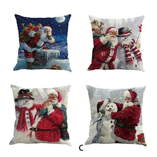 TWIFER 4 STÜCK Weihnachten Baumwolle Leinen Sofa Car Home Taille Kissenbezug Dekokissen Fall (C, 45X45cm) (Jack Weihnachten Lila)