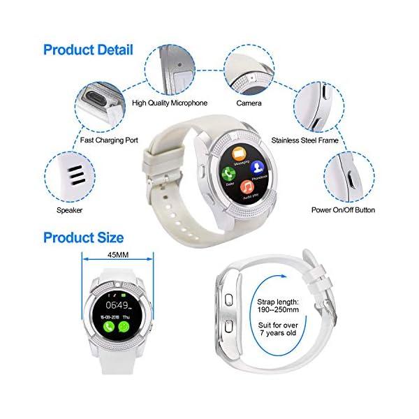 Tipmant Reloj Inteligente Mujer Hombre SN08 Smartwatch Pantalla táctil con Ranura para Tarjeta SIM Cámara Podómetro Pulsera de Actividad para Smartwatch para Xiaomi Samsung Huawei Android (Blanco) 6