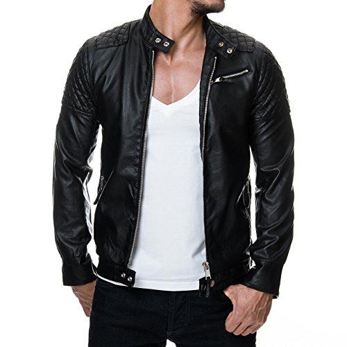 Prestige Homme mr08 –Giacca da uomo trapuntato in finta pelle, stile biker nero s