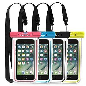 [Certifiée IPX8] Pochette Téléphone Étanche, [Lot de 4] iVoler Housse Coque Étanche Universel (Smartphones Jusqu'à 6.2 Pouces) Waterproof Case Bag Etui Safe Water Pouch avec Transparent Touch Sensible et Séchage Rapide pour iPhone X, 8, 8 Plus, 7, 7 Plus,6 / 6s Plus, SE 5S 5C, Samsung Galaxy S9/S9 Plus/S8/S8+/S7/S7 Edge, Huawei P20/P20 Lite, Wiko, LG, Sony, Motorola, et d'autres appareils de taille égale ou inférieure à 6.2''. [Garantie à Vie] (Nior+Bleu+Vert+Rose)