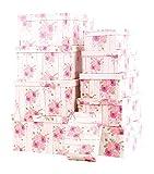 Mediablue Aufbewahrungsboxen Schachteln Geschenkbox im 10er Set mit Deckel Verschiedene Designs (Pink Rose)