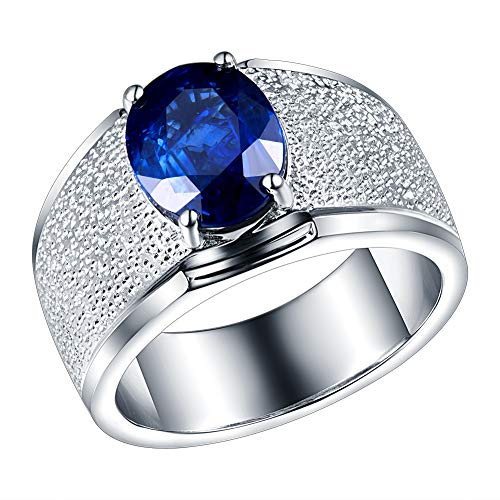 Blauer Saphir Solitaire Verlobungsringe in 18 Karat Weißgold für Männer Feine Ringe