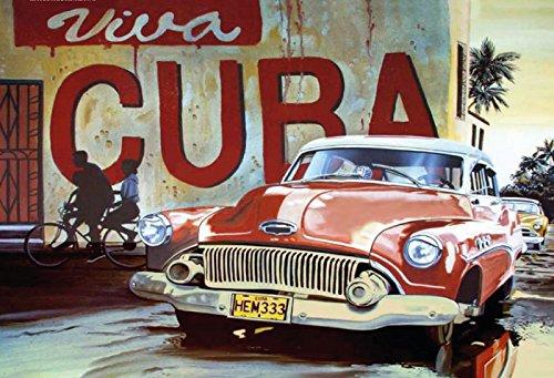 generisch Blechschild 30x20cm Viva Cuba Oldtimer Car Auto Kuba Retro Schild Nostalgie -
