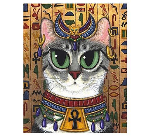 Ölfarbe Malen Nach Zahlen DIY Rahmenlose Alte Ägyptische Gott Katze Ägypten Mosaik Home Decoracryl Paint On Canvas Modern Für Home Arts 40x50cm -
