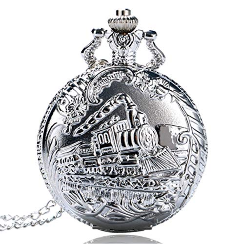 DYH&PW Taschenuhr Klassische Silberne Taschenuhr Train Front Lokomotive Motor Halskette Anhänger Kette Quarz Analog Fob Watch Pocket & Fob Uhren von Uhren