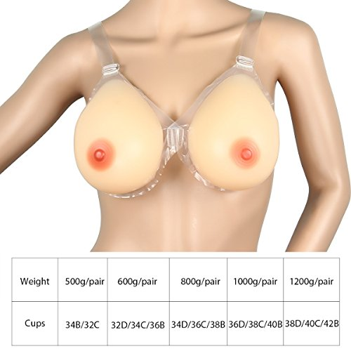 Kitchnexus Waterdrop Silicone Breast Form Strap-On Nipple False Boob Bust Enhancer Crossdresser Transgender Bra