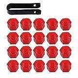ARTGEAR 20 Piezas Universal 17 mm Tapa de Tuerca de Rueda, Tapas para Tornillos de Rueda, Cubierta de Tuerca de Neumático, Wheel Bolt Nut Cap, con Caja de Almacenamiento y Extractor (Rojo)