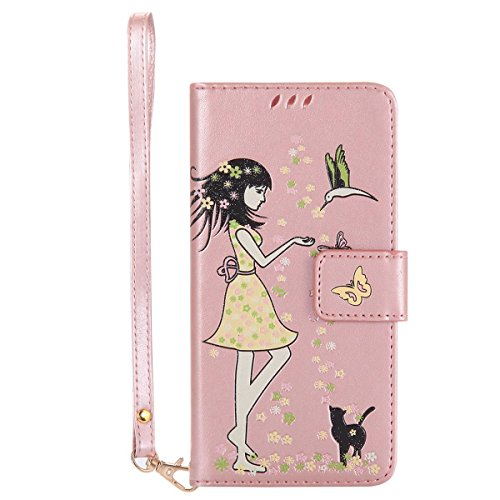 Gelusuk LG K10 Hülle,Leuchtende Luminous Muster Design PU Leder Flip Card Holder Cover Ständer Wallet Case,Bookstyle Folio Ledertasche Brieftasche Tasche Case Schutzhülle Etui-Roségold