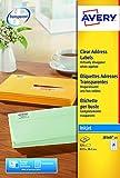 Avery J8560-25 Quickpeel Etichette Trasparenti, 21 Pezzi per Foglio, 25 Fogli, 63.5 x 38.1, Trasparente
