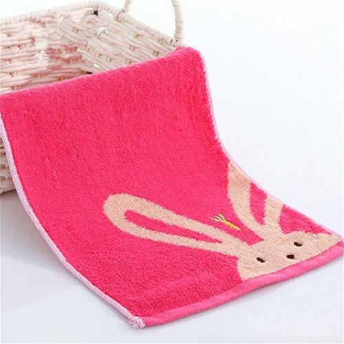 M & F 26x 50cm 100% Baumwolle Cartoon Kaninchen Jacquard Weiche Waschlappen Kinder Baby Badezimmer Handtuch (), rose, 26x50cm (Jacquard-waschlappen)