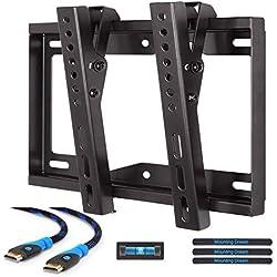 Mounting Dream MD2268-S-02 Supporto da parete Inclinabile TV staffa per la maggior parte dei 26-42 pollici LED, LCD e plasma TVs fino a VESA 200 x 200 mm, capacità di carico 20 kg, 1,8 m cavo HDMI e livella a bolla