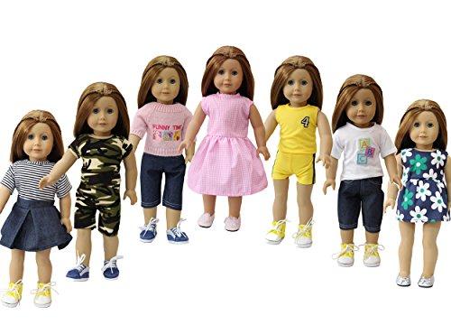 ZITA ELEMENT 7er Daily Puppen Kleidung Kleider Outfits für 35 - 46cm Babypuppe und 14/18 Zoll American Girl Doll Puppenkleidung Puppenkleider Bekleidung Mädchen Spielzeug (Kleider Für American Girl-puppen)