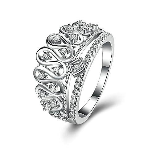 KnSam Damen-Ring 925 Sterlingsilber Prinzessin Krone Eheringe SWA Zirkonia Trauringe Silber für Frauen Größe 52 (Prinzessin Set Manschettenknöpfe)