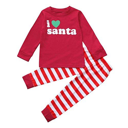 Gaddrt Weihnachten Kinder Kleinkind Baby Mädchen Boy Letter Tops Streifen Hosen Outfit Set Kleider (Monster Kostüme Kleinkinder Schnee Für)
