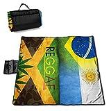 Socksforu Brasil Argentina Jamaica Reggae Weed Leaf Flag Portable Large Picnic Blanket 57'' x59 Outdoor Waterproof Sand Free Picnic Blanket Mat with Tote Bag for Or Travel