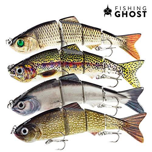 FISHINGGHOST Bait Candy Set, Longitud: 12 cm, Peso: 18 Gramos, Señuelos Artificiales Swimbait/Señuelos de Pesca/Wobblers para la Pesca de Peces Depredadores como el Lucio, la Perca, la Trucha (4X)