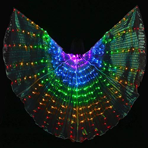 KT Mall Bunte Bauchtanz-Flügel LED Mit Teleskopstock-Tanzkostümen Glowing Performance Clothing Für Karneval, Bühne, Halloween Party,PurpleBlueGreenYellowRed (Bar Halloween-kostüme Verwandten)