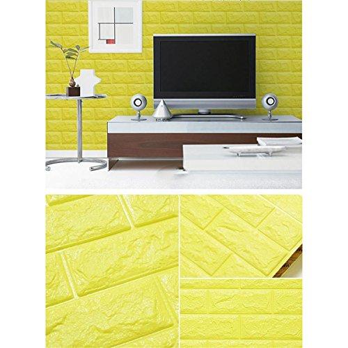 LKXHarleya 3D Wasserdichte PVC Selbstklebende Geprägte Schaum Ziegelstein-Muster Tapeten Moderne Schlafzimmer Wohnzimmer Tapete 70x30 cm