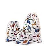 Amoyie 3 pezzi organizer borsa cotone con coulisse per bimba abiti pannolini giocattoli matite colorate caramella regalo – Piccola sacche in 3 taglie (25x30cm) + (19x23) + (15x16)