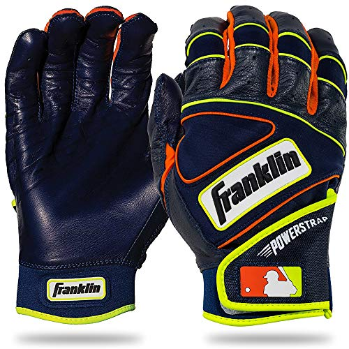 Franklin Sports MLB Powerstrap Baseball-Handschuhe, Powerstrap, Navy/Orange/Yellow, Erwachsene Large