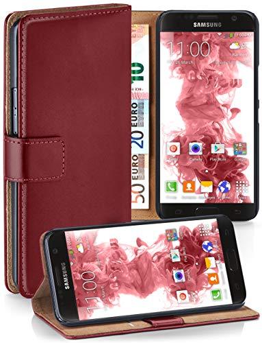moex Booklet mit Flip Funktion [360 Grad Voll-Schutz] für Samsung Galaxy S7 | Geldfach und Kartenfach + Stand-Funktion und Magnet-Verschluss, Dunkel-Rot