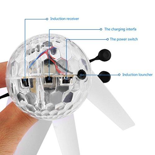 RC fliegender Ball mit LED Leuchtung Disco Musik Spielzeug RC Infrarot Induktionshubschrauber Ball für Kids - 5