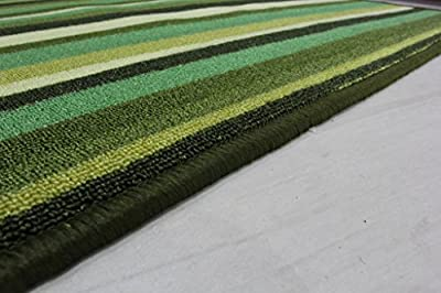 Green Stripe Anti Creep Entrance door mat and runner rugs Luna - 6 sizes available