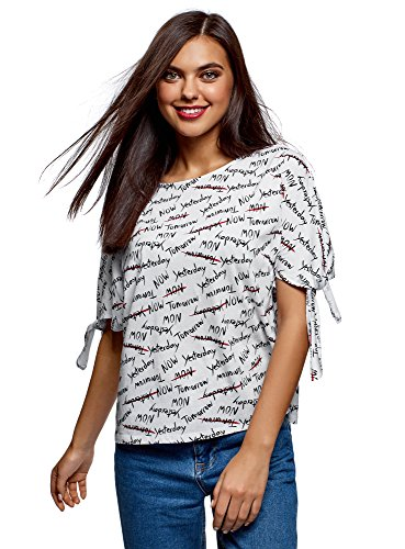 oodji Ultra Mujer Camiseta Estampada con Lazos, Blanco, ES 42 / L