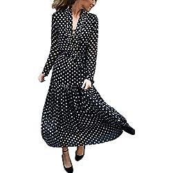 beautyjourney Vestido Largo de Lunares de Manga Larga para Mujer Vestido Maxi Fiesta de Playa Vestido de cóctel Retro con Cordones de Rockabilly Falda Plisada Vestido de túnica