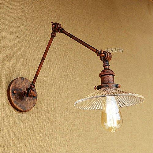 HJZY Industriale regolabile in vetro ombra metallo lungo braccia lampada da parete Lanterna Vintage Loft Lanterna doppio swing braccio parete applique E27 base per cucina sala da pranzo loft bar -