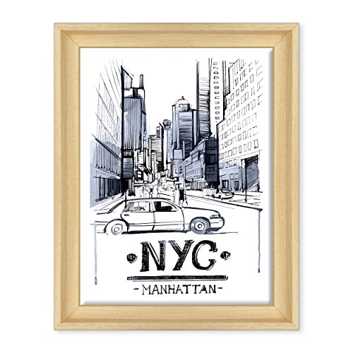 Bild auf Leinwand Canvas – Gerahmt – fertig zum Aufhängen – NYC New York City USA Amerika – Illustration – Position Abstrakt Digital Dimensione: 30x40cm C - Colore Legno Naturale Contemporaneo
