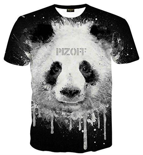 Pizoff Unisex Print Schmale Passform T Shirts mit Karikatur Katze 3D Druckmuster Panda AL067-25-XL