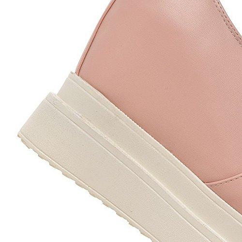 AllhqFashion Femme Rond à Talon Haut Matière Souple Couleur Unie Tire Chaussures Légeres Rose
