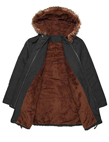 Soteer Damen Wintermantel Parka Jacke Coat mit Kunstfellkragen und mit Tunnelzug B+Schwarz