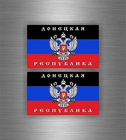 2x autocollant sticker voiture drapeau russie nouvelle donetsk republique