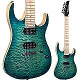 Lindo LDG- Guitarra eléctrica con mástil arce de 7 cuerdas -ráfaga de color turquesa.