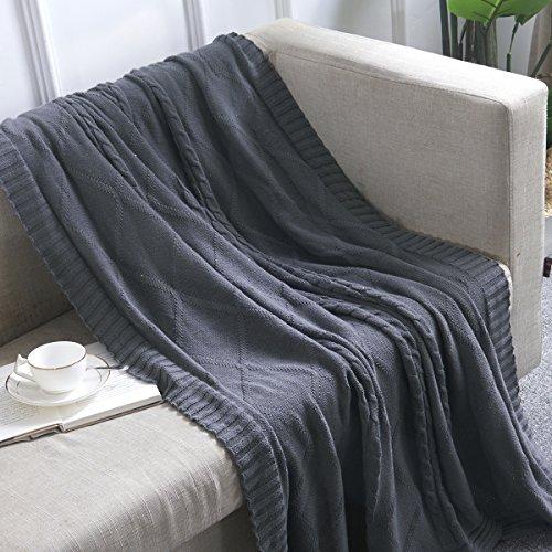 Vonty 100% Baumwolle Knit Diamant Muster Überwurf Decke Weich Warm Strickdecke für Couch, Bett, Sofa, Stuhl 47