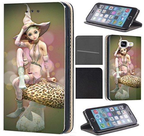 Pilz Fix (CoverFix Premium Hülle für Apple iPhone 5 / 5s / SE Flip Cover Schutzhülle Kunstleder Flip Case Motiv (1319 Elfe Manga Pilz Anime Girl))