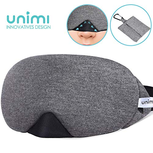 Unimi Baumwolle Schlafmaske Damen und Herren, 2019 neue Design Premium Augenmaske Nachtmaske,100% Lichtschutz, super weich und bequem, Augenschutz f¨¹r Reisen, Schichtarbeit und Nickerchen.