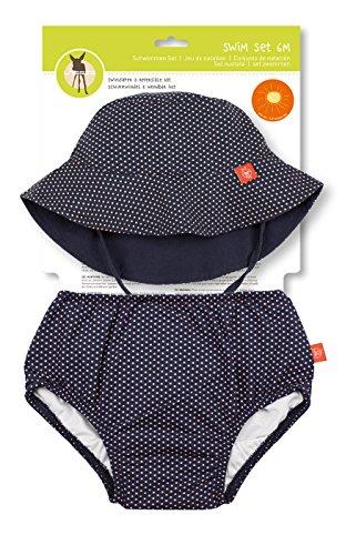 LÄSSIG Baby Kinder Bade Set Hut (wendbar) und Schwimmwindel waschbar Auslaufschutz UV-Schutz 50+/Baby Swim Set  girls, Polka Dots, 12 Monate, blau