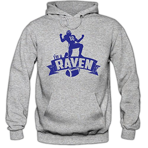 Shirt Happenz Raven #7 Hoodie |Herren | Super Bowl | Play Offs | Football Hoodies | USA | Kapuzenpullover, Farbe:Graumeliert (Greymelange F421);Größe:M Joe Flacco Jersey