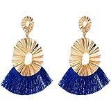 QiXuan Mujer Bohemio 14K chapado en oro Borlas Pendientes Ondulación redonda hueco cuelga Pendientes de gota (azul marino)