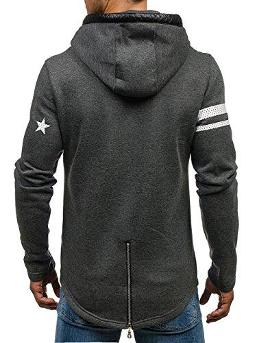 BOLF Herren Sweatshirt Pullover mit Kapuze mit Kordel Top AK72 Anthrazit_Y44