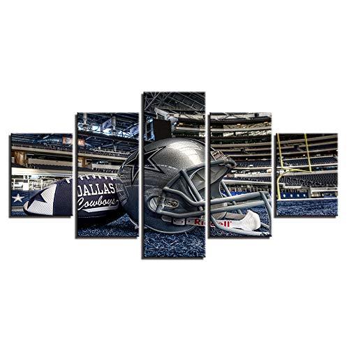 TSTLCLLMZ Wandkunst Poster Leinwanddruck Bild Dallas Cowboys Helm Fußball für Wohnzimmer Dekoration 5 Panels Malerei-Definition Moderne Wohnkultur,3
