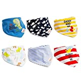 6pcs Baby Dreieckstuch Lätzchen Jungen Spucktuch Baumwolle Halstücher mit süßen Motiven in unterschiedlichen Farben, Doppellagig Saugfähig