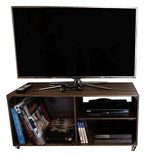 Lize Line® TV-Tisch Fernsehtisch Fernsehschrank TV-Möbel TV-Element TV-Regal TV-Lowboard TV-Board TV-Rack mit 3 Fächern und Rollen Massivholz 90 x 42 x 40 cm Braun | umweltfreundlich -
