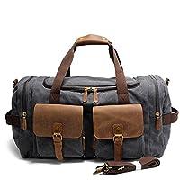 SUVOM® Weekend Duffle Bag Canvas Leather Travel Duffel Luggage Oversized Holdall (Dark Grey)