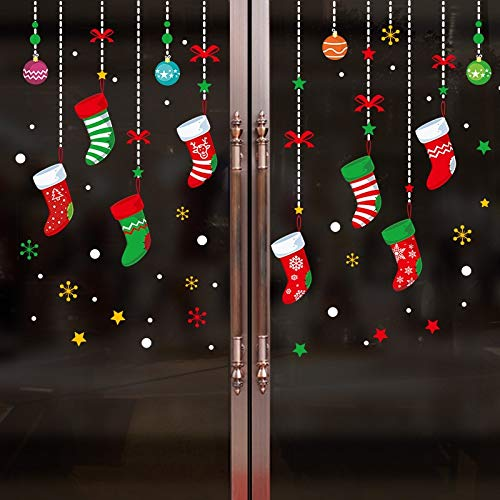 SUNYU Double Wall Sticker Window Decoration Christmas Stocking Graffiti Mural Green Waterproof Cartoon Color Double Wall Sticker -